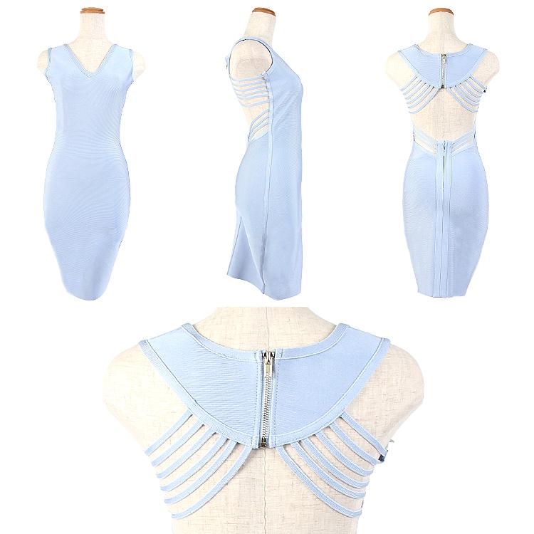 タイト系 ワンピース ミニドレス バンテージ ストレッチ 切り替え 胸元・背中開き(AR7901)