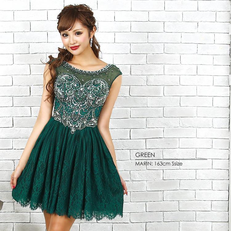 57a8732c7cef1 ボリュームあるスカートレース使いで上品な仕上がりのフレアミニドレス。 トップスの贅沢に施されたビジューデザインで高級感溢れる1着。