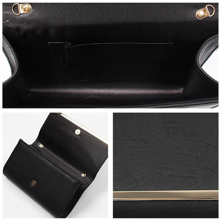レザークラッチバッグ フェイクレザー ハンドバッグ 収納ポケット チェーン取り外し マグネットボタン レディース